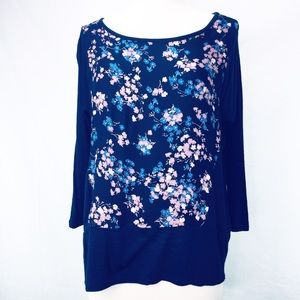 Lucky Brand Top Navy Floral Print Hi Lo Small NWT